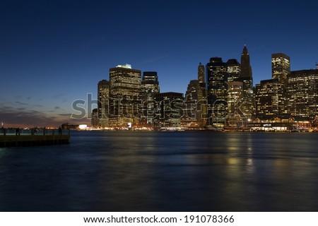 New York City Manhattan downtown skyline - stock photo