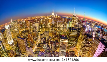 New York City Manhattan downtown skyline. - stock photo