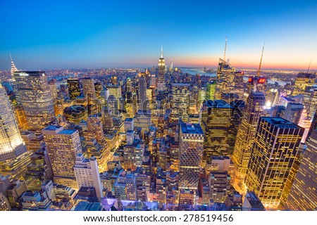 New York City. Manhattan downtown skyline at dusk.  - stock photo