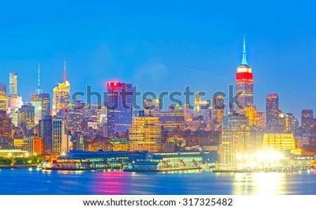 Skyline Midtown Manhattan Across East River Stock Photo ...