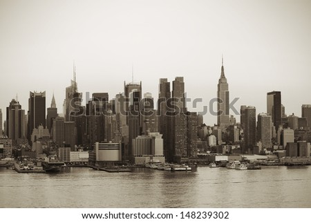 New York City Manhattan in black and white - stock photo