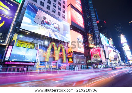 New York City, Manhattan, Jan 18, 2014 - Night in Times Square - stock photo