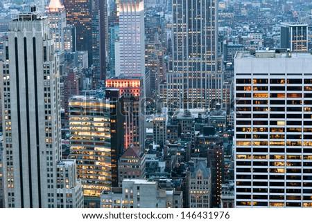 New York City Manhattan midtown aerial panorama view with skyscrapers - stock photo