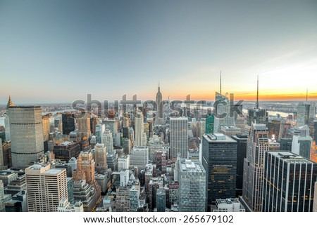 New York City Manhattan midtown buildings evening skyline - stock photo
