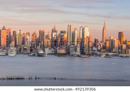 New York City Manhattan midtown skyline at dusk USA