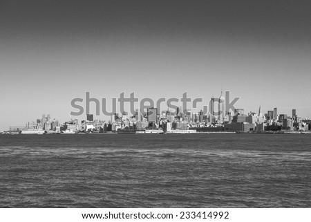 New York City Manhattan midtown skyline black and white. - stock photo