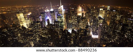 New York City Manhattan night time aerial view - stock photo