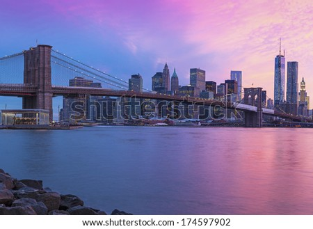 New York City Manhattan panorama at sunset  - stock photo