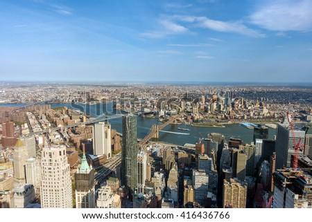 New York City Manhattan skyline aerial view - stock photo
