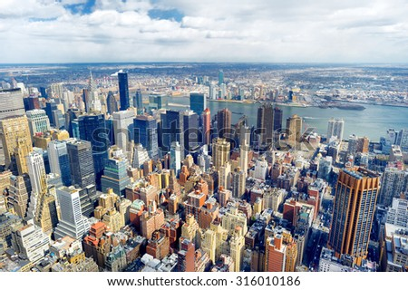 New York City Manhattan skyline aerial view at evening - stock photo