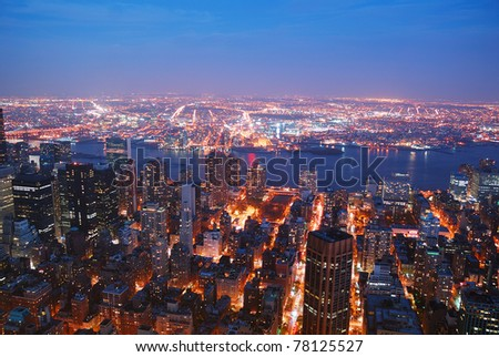 New York City Manhattan skyline aerial view panorama with Brooklyn and Hudson east river at sunset. - stock photo
