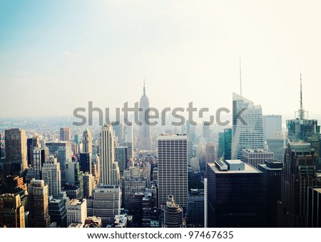 New York City Manhattan skyline aerial view with Empire State building in the fog - stock photo