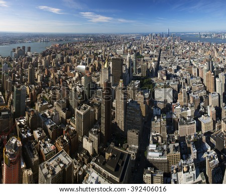 New York City Manhattan skyline aerial view with skyscrapers and Hudson river fisheye - stock photo
