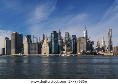 New York City Manhattan skyline on the aftenoon