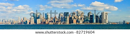 New York City Manhattan Skyline Panorama - stock photo