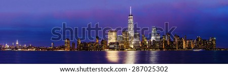 New York City Manhattan skyline panoramic image over Hudson River viewed from New Jersey at sunset. - stock photo