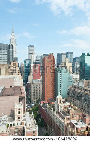 New York City Manhattan skyline view with Chrysler building in the background. - stock photo