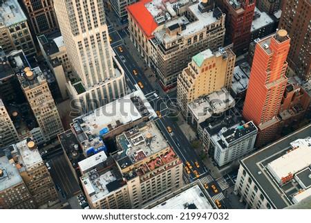 New York City Manhattan street aerial view. - stock photo