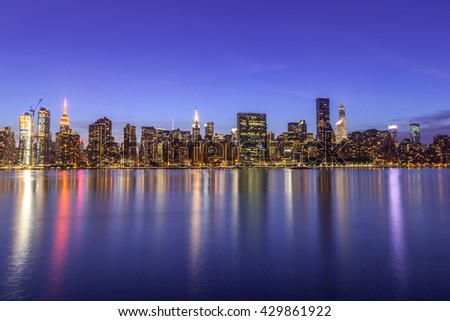 New York City Manhattan sunset evening night skyline buildings
