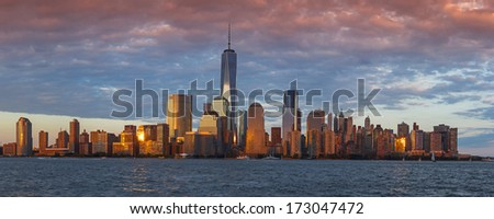 New York City Manhattan sunset panorama  - stock photo