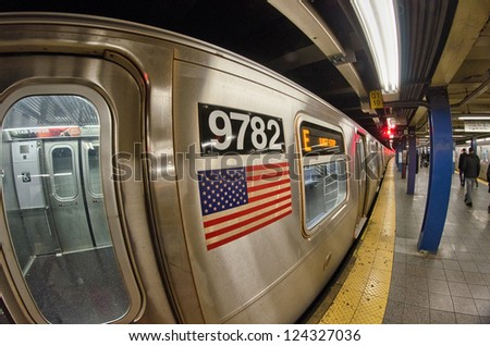 NEW YORK CITY - MAR 1: Interior of NYC Subway station, March 1, 2011 in New York City. Subway system has 468 stations in operation. - stock photo
