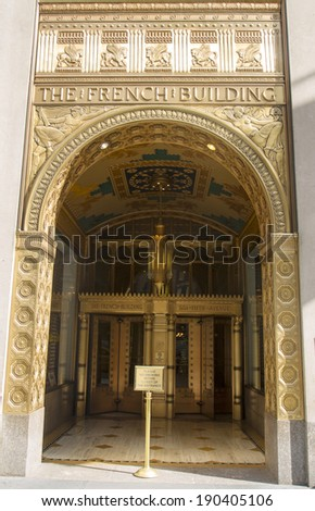 NEW YORK CITY - MARCH 20: Art deco facade at The Fred F. French Building in Manhattan on March 20, 2014. The National Register of Historic Places listed the building in January 2004