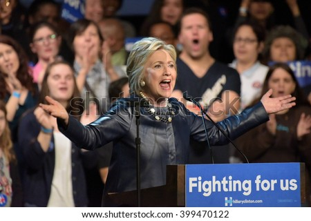 NEW YORK CITY - MARCH 29 2016: Democratic front runner Hillary Clinton appeared before hundreds of supporters in Harlem's Apollo Theater to hear her address issues. - stock photo