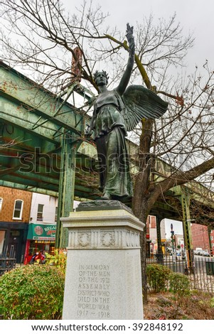New York City - March 13, 2016: Freedom Triangle, in the Brooklyn neighborhood of Bushwick. It commemorates the sacrifice of the Brooklyn men who gave their lives during World War I (1914-1918). - stock photo