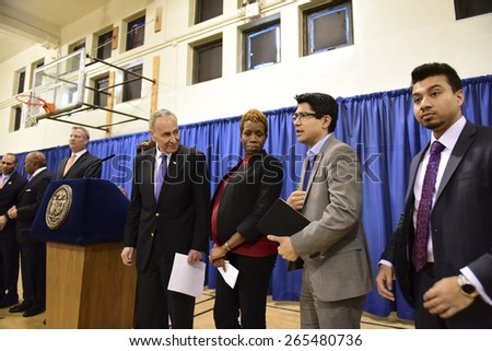 NEW YORK CITY - MARCH 31 2015: mayor Bill de Blasio & other elected officials held a press conference in Red Hook to announce a FEMA grant of 3 billion dollars to the NYCHA for infrastructure upgrades - stock photo