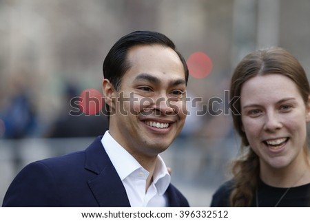 NEW YORK CITY - MARCH 23 2016: Mayor de Blasio, Chirlane McCray, Melissa Mark-Viverito & HUD director Julian Castro highlighted a rally in Foley Square. HUD director Julian Castro with fan