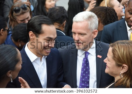 NEW YORK CITY - MARCH 23 2016: Mayor de Blasio, Chirlane McCray, Melissa Mark-Viverito & HUD director Julian Castro highlighted a rally in Foley Square. Julian Castro with Jimmy Van Bramer