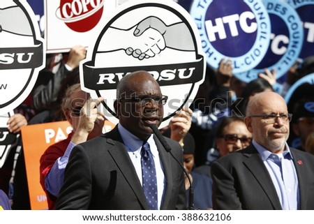NEW YORK CITY - MARCH 9 2016: NYC mayor Bill de Blasio held a rally with union and AARP members to urge passage of his affordable housing initiative. Rev Frederick Davie of Union Theological Seminary