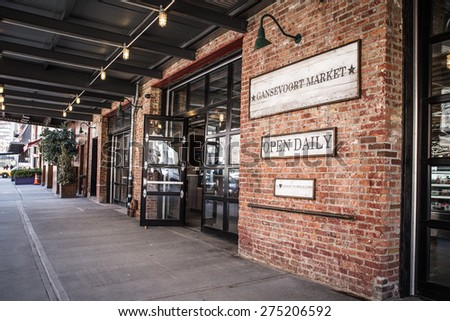 NEW YORK CITY - MARCH 13, 2015:  Street view of landmark market on Gavsevoort Street in the Meatpacking District, Manhattan.  - stock photo
