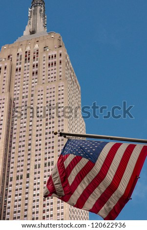 NEW YORK CITY - MARCH 25: The Empire State Building is a 102-story landmark skyscraper and was the world's tallest building for more than 40 years. March 25, 2012 in Manhattan, New York City. USA. - stock photo