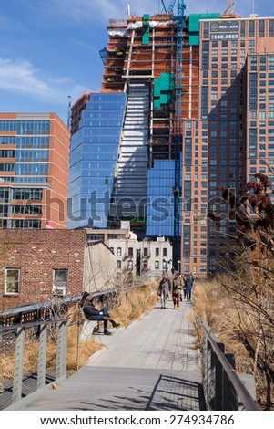NEW YORK CITY - MARCH 13, 2015:  View from High Line Park with construction of Hudson Yards in the distance. - stock photo