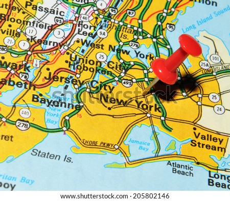 New York city marked with red pushpin on US map. New York is the most populous city in the world - stock photo