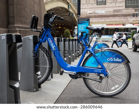 NEW YORK CITY - MAY, 2015: Citi Bike station in front of Grand Central Station in Manhattan. NYC bike share system started in Manhattan and Brooklyn on May 27, 2013. - stock photo