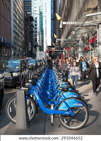 NEW YORK CITY - MAY, 2015: Citi Bike station in Manhattan. NYC bike share system started in Manhattan and Brooklyn on May 27, 2013. - stock photo