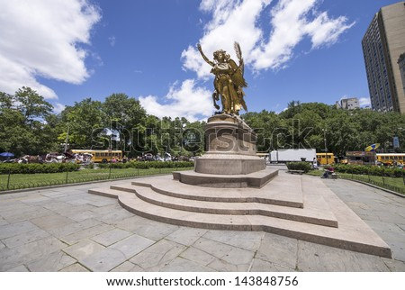 NEW YORK CITY - MAY 22: General Sherman statue in Central Park, May 22, 2013 in NYC. The park initially opened in 1857 and is now the main city green area. - stock photo