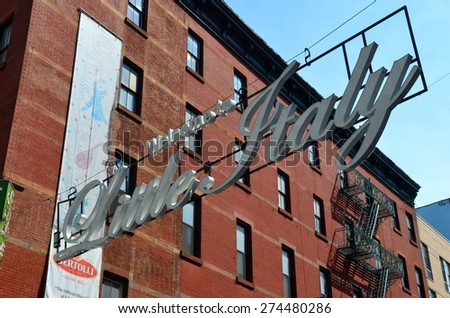 NEW YORK CITY - MAY 1, 2015: Historic Little Italy in Lower Manhattan on MAY 1, 2015, NYC, USA. - stock photo