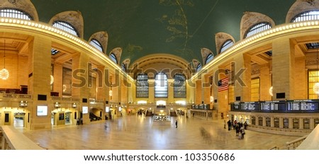 NEW YORK CITY - MAY 14: Interior of Grand Central Station May 14, 2012 in New York, NY. The terminal is the largest train station in the world by number of platforms having 44. - stock photo