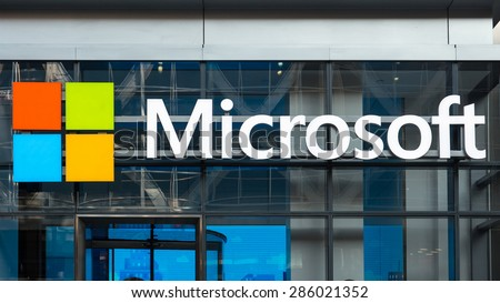 NEW YORK CITY - MAY 2015: Microsoft sign on a building in NYC. Microsoft Corporation is an American multinational technology company. - stock photo