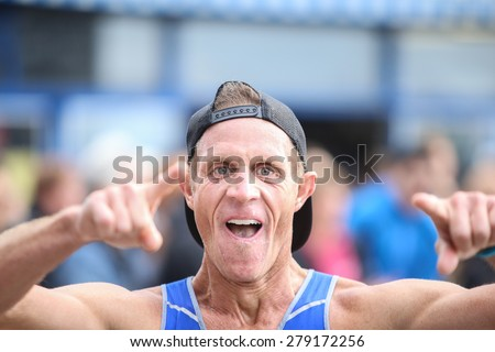 NEW YORK CITY - MAY 16 2015: New York Road Runners held its annual Brooklyn half-marathon where more than 20000 runners filled a 13.1 mile course that ended on the Coney Island Boardwalk