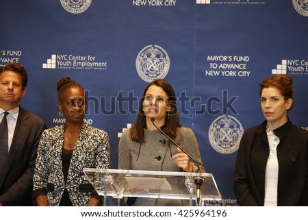NEW YORK CITY - MAY 17 2016: NYC first lady Chirlane McCray led a press conference at Time Warner Center to announce strategies to enhance youth employment - stock photo