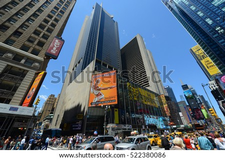 NEW YORK CITY - MAY 25,2 2014: One Astor Plaza and MTV Studios on Times Square at the intersection of Seventh Ave and W 44th Street in Midtown Manhattan, New York City, USA.