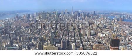 New York City - May 31, 2015: Panoramic view of New York City downtown as seen from One World Trade Center observatory deck. May 31, 2015 New York City, USA.   - stock photo
