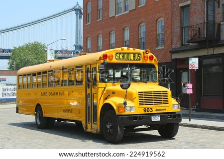 NEW YORK CITY-MAY 21: School bus in Brooklyn on May 21, 2013. NYC has the largest school transportation department in the country - stock photo