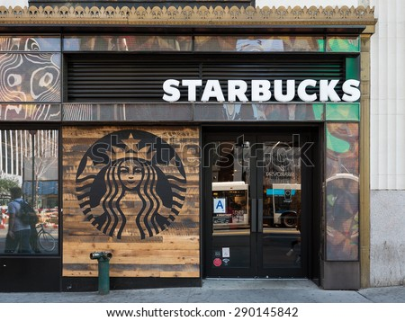 NEW YORK CITY - MAY 2015: Starbucks store. Starbucks is the largest coffeehouse company in the world. - stock photo