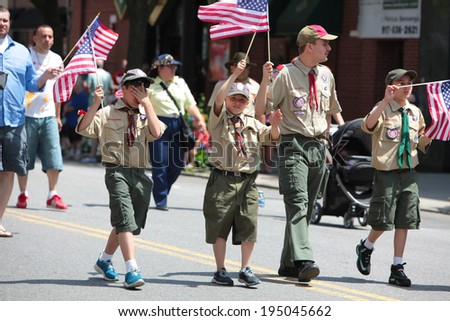 NEW YORK CITY - MAY 26 2014: The 146th annual King's County Memorial Day Parade, one of the nation's oldest, honored fallen & living veterans in the streets of Bay Ridge, Brooklyn. Boy Scouts march - stock photo
