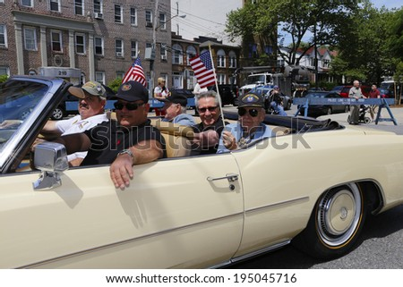 NEW YORK CITY - MAY 26 2014: The 146th annual King's County Memorial Day Parade, one of the nation's oldest, honored fallen & living veterans in the streets of Bay Ridge, Brooklyn. Vintage 1968 Impala - stock photo